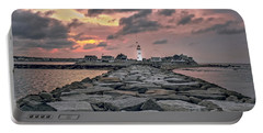 Old Scituate Light At The End Of The Jetty Portable Battery Charger