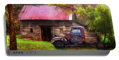 Portable Battery Charger featuring the photograph Old Smoky Truck And Barn by Debra and Dave Vanderlaan