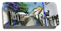 Portable Battery Charger featuring the painting Old Street In Obidos, Portugal by Dora Hathazi Mendes