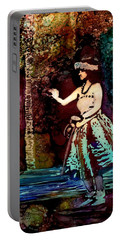Portable Battery Charger featuring the painting Old Time Hula Dancer by Marionette Taboniar