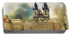 Old Town Square Prague In The Rain Portable Battery Charger