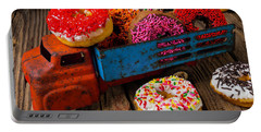 Old Toy Truck And Donuts Portable Battery Charger by Garry Gay