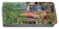 Portable Battery Charger featuring the painting Old Truck Rusting by Marilyn  McNish