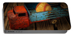 Old Truck With Basball Portable Battery Charger by Garry Gay