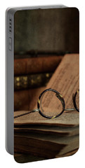 Old Vintage Books With Reading Glasses Portable Battery Charger