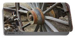 Portable Battery Charger featuring the photograph Old Waagon Wheel by Phyllis Denton