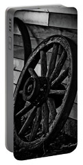 Old Wagon Wheel Portable Battery Charger by Joann Copeland-Paul