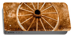 Old Wagon Wheel - Sepia Portable Battery Charger