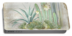 Old West Cactus Garden W Longhorn Cow Skull N Succulents Over Wood Portable Battery Charger