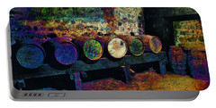 Portable Battery Charger featuring the digital art Old Wine Barrels by Glenn McCarthy Art and Photography