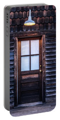Portable Battery Charger featuring the photograph Old Wood Door And Light by Terry DeLuco