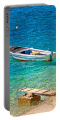 Old Wooden Fishermen Boat On Turquoise Beach Portable Battery Charger