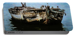 Portable Battery Charger featuring the painting Old Wooden Fishing Boat by Chris Armytage