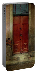 Old Wooden Gate Painted In Red  Portable Battery Charger by Jaroslaw Blaminsky