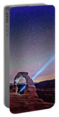 Olena Art Starry Night Pointer At Delicate Arch Moab National Park Portable Battery Charger