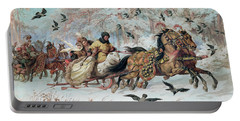 Olenka And Kmicic In A Sleigh, 1885 Portable Battery Charger