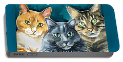 Oliver, Willow And Walter - Cat Painting Portable Battery Charger