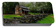 Oliver's Cabin Among The Dogwood Of The Great Smoky Mountains National Park Portable Battery Charger