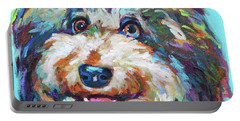 Portable Battery Charger featuring the painting Olivia, The Aussiedoodle by Robert Phelps