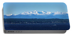 Portable Battery Charger featuring the photograph Olympic Mountains From Shoreline by Mary Jo Allen