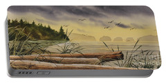 Portable Battery Charger featuring the painting Olympic Seashore Sunset by James Williamson