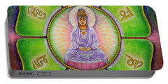 Om Mani Padme Hum Kuan Yin Portable Battery Charger by Sue Halstenberg