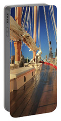 On Deck Of The Schooner Eastwind Portable Battery Charger by Roupen  Baker