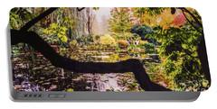 On Oscar - Claude Monet's Garden Pond  Portable Battery Charger