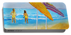 Portable Battery Charger featuring the painting On The Beach by Rodney Campbell