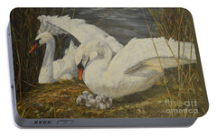 Portable Battery Charger featuring the painting On The Nest by Beatrice Cloake