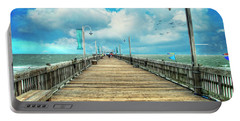 On The Pier At Tybee Portable Battery Charger by Tammy Wetzel