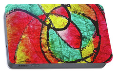 Portable Battery Charger featuring the painting On The Road Again by Joan Reese