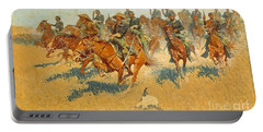 Portable Battery Charger featuring the photograph On The Southern Plains Frederic Remington by John Stephens