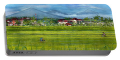 Portable Battery Charger featuring the painting On The Way To Ubud 3 Bali Indonesia by Melly Terpening