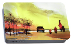 Portable Battery Charger featuring the painting On Vacation by Anil Nene