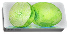 One And A Half Limes Portable Battery Charger by Rebecca Davis