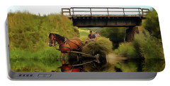 One Brown Horse Transportation Hay On Wooden Cart Portable Battery Charger