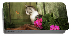 One Cute Kitten Waiting At The Door Portable Battery Charger