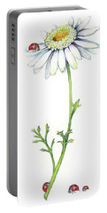 Portable Battery Charger featuring the painting One Daisy And Four Ladybugs by Heidi Kriel