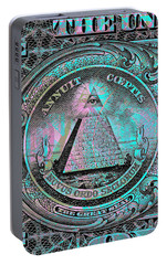 Portable Battery Charger featuring the digital art One-dollar-bill - $1 - Reverse Side by Jean luc Comperat