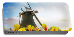 One Dutch Windmill Over  Tulips Portable Battery Charger