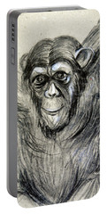 One Of A Kind Original Chimpanzee Monkey Drawing Study Made In Charcoal Portable Battery Charger by Marian Voicu