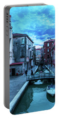 one of many normal channels of Venice on a summer evening Portable Battery Charger
