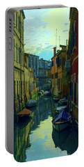 one of the many Venetian canals at the end of a Sunny summer day Portable Battery Charger