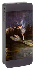 Portable Battery Charger featuring the painting One On A Large Dragon Fly by Peter Gumaer Ogden