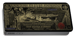 Portable Battery Charger featuring the digital art One U.s. Dollar Bill - 1896 Educational Series In Gold On Black  by Serge Averbukh