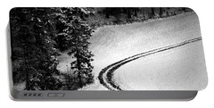 Portable Battery Charger featuring the photograph One Way - Winter In Switzerland by Susanne Van Hulst
