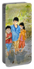 Portable Battery Charger featuring the painting Onion Farm Children Bali Indonesia by Melly Terpening