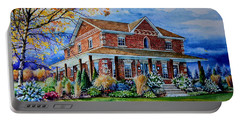 Portable Battery Charger featuring the painting Ontario House Portrait  by Hanne Lore Koehler