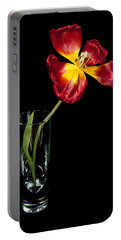 Open Red Tulip In Vase Portable Battery Charger